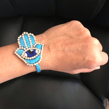 Load image into Gallery viewer, Blue hamsa hand adjustable bracelets