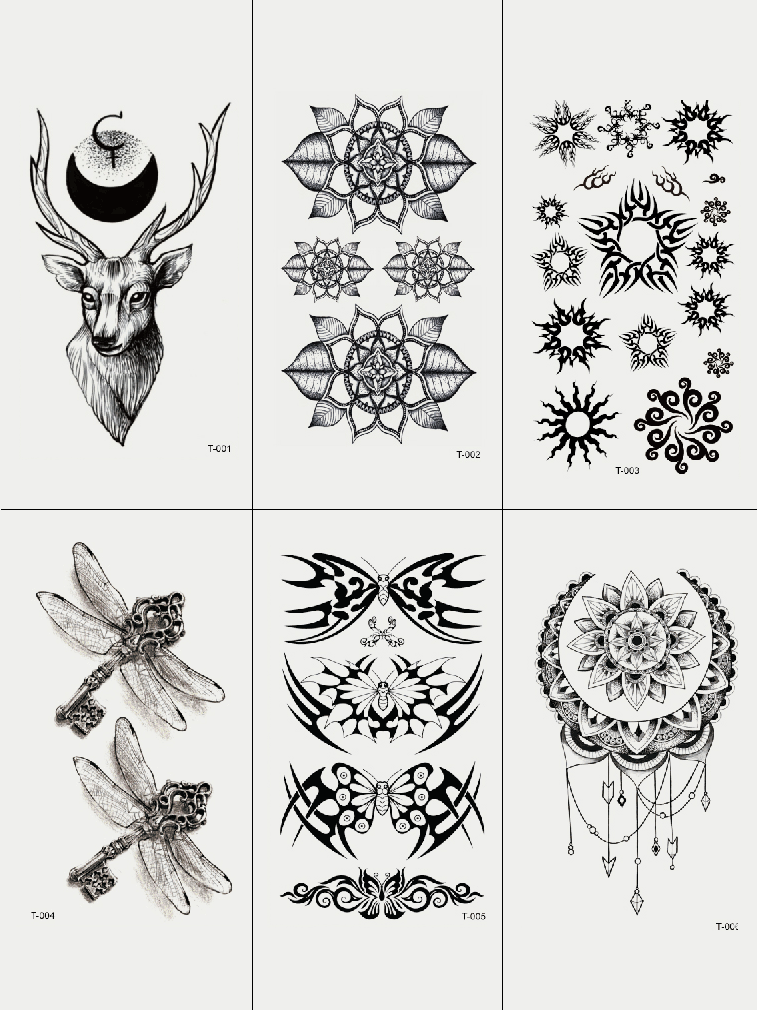 Semink-Tattoo Sticker-Deer Dragonfly And Flowers