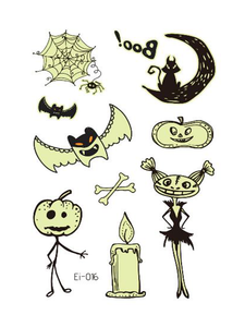 Semink-Tattoo Sticker-Halloween Pumpkin And Bat Children Fluorescent Sticker