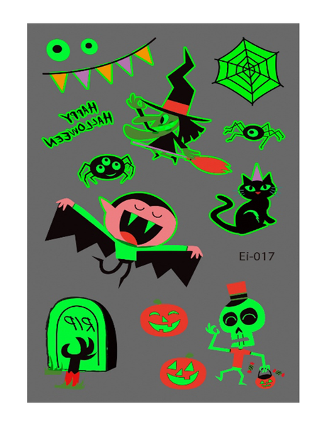 Semink-Tattoo Sticker-Halloween Spider Cat And Bat Cute Fluorescent Sticker