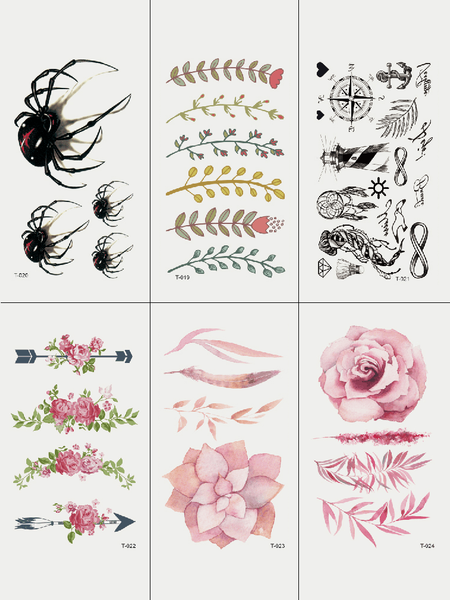 Semink-Tattoo Sticker-Spider Flower And Arrows