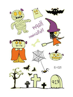 Semink--Halloween Witch And Grave Cartoon Fluorescent Sticker-I