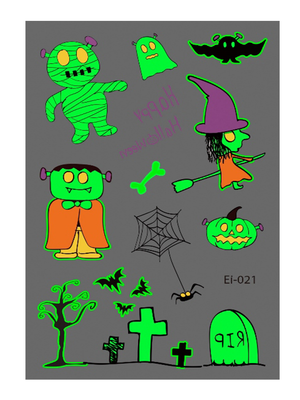 Semink-Tattoo Sticker-Halloween Witch And Grave Cartoon Fluorescent Sticker
