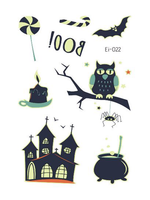 Semink--Halloween Owl And Castle Cartoon Fluorescent Sticker-I