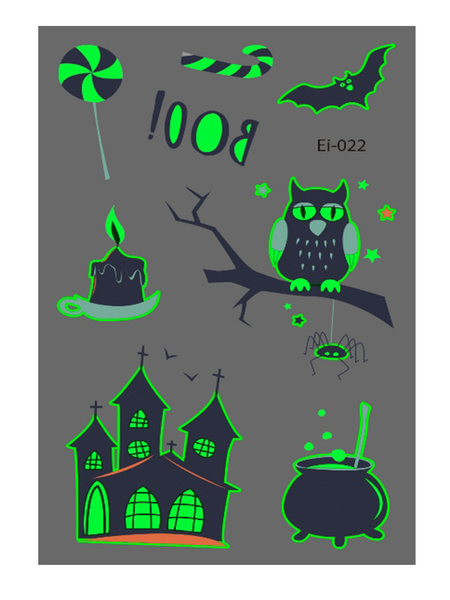 Semink-Tattoo Sticker-Halloween Owl And Castle Cartoon Fluorescent Sticker