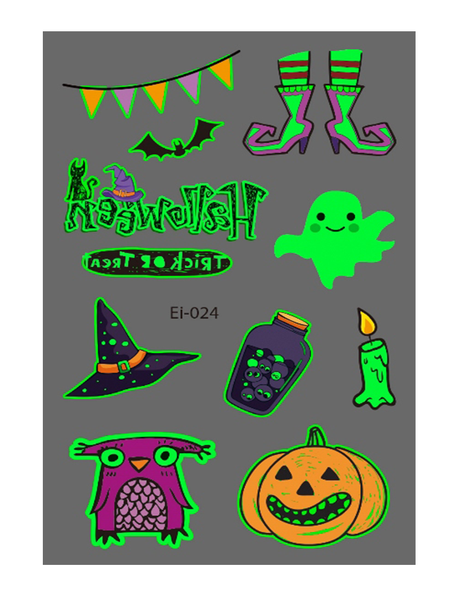Semink-Tattoo Sticker-Halloween Cat Witch Potion And Boots Cartoon Fluorescent Sticker