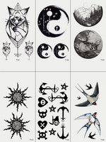 Semink-Tattoo Sticker-Animals And Moon Campass