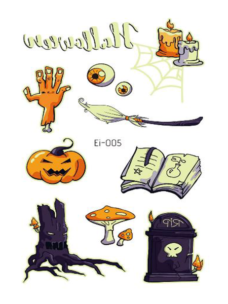 Semink-Tattoo Sticker-Halloween Pumpkin Candle Cartoon Fluorescent Sticker
