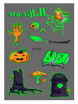 Semink-Tattoo Sticker-Halloween Pumpkin Candle Cartoon Fluorescent Sticker-I