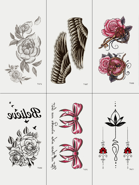Semink-Tattoo Sticker-Flowers And Wings And Bowknot