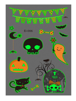 Semink-Tattoo Sticker-Halloween Human Skeleton Pumpkin Cartoon Fluorescent Sticker