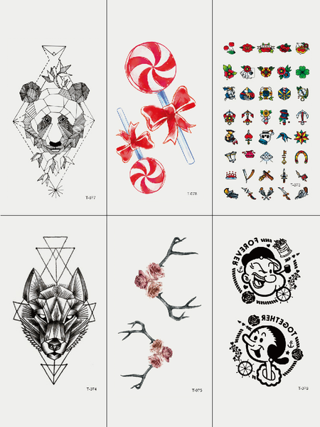 Semink-Tattoo Sticker-Bear Lollipot Wolf And Popeye