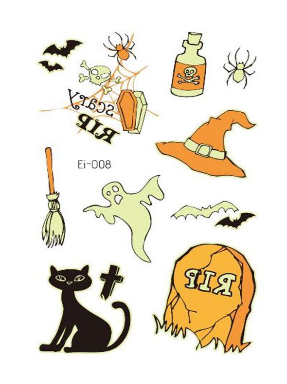 Semink--Halloween Cat And Witch Hat Cartoon Fluorescent Sticker-I