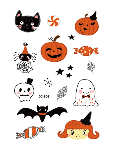 Semink-Tattoo Sticker-Halloween Pumpkin Candy And Spider Bat Child Sticker
