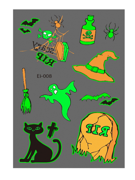 Semink-Tattoo Sticker-Halloween Cat And Witch Hat Cartoon Fluorescent Sticker