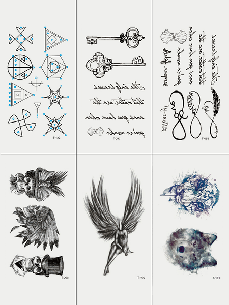 Semink-Tattoo Sticker-Angel / India / Tiger / Wolf And Quotes Geometric Pattern