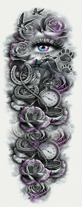 Semink-Tattoo Sticker-Eye,rose,pocket watch,birds,footprints