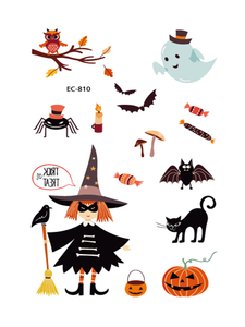 Semink-Tattoo Sticker-Halloween Tricksters With Pumpkin Lights Asking For Candy Stickers