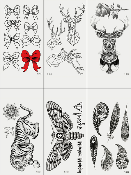 Semink-Tattoo Sticker-Butterfly Tiger Deer And Feather
