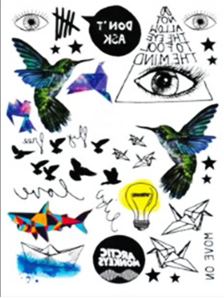 Semink-Tattoo Sticker-Birds,eyes,lamp and fish