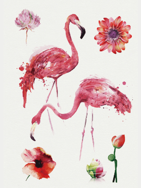 Semink-Tattoo Sticker-Flamingo And Flowers