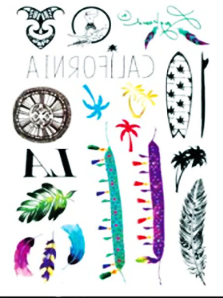 Semink-Tattoo Sticker-California-plume,leaf and coconut tree