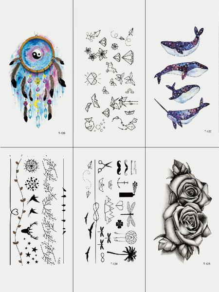 Semink-Tattoo Sticker-Dream Catcher Blue Whale And Flower