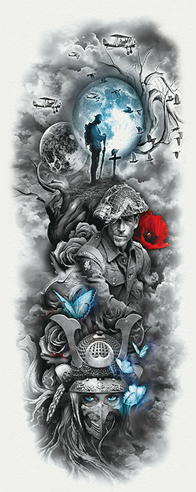 Semink-Tattoo Sticker-Soldiers, planet, butterflies,flower