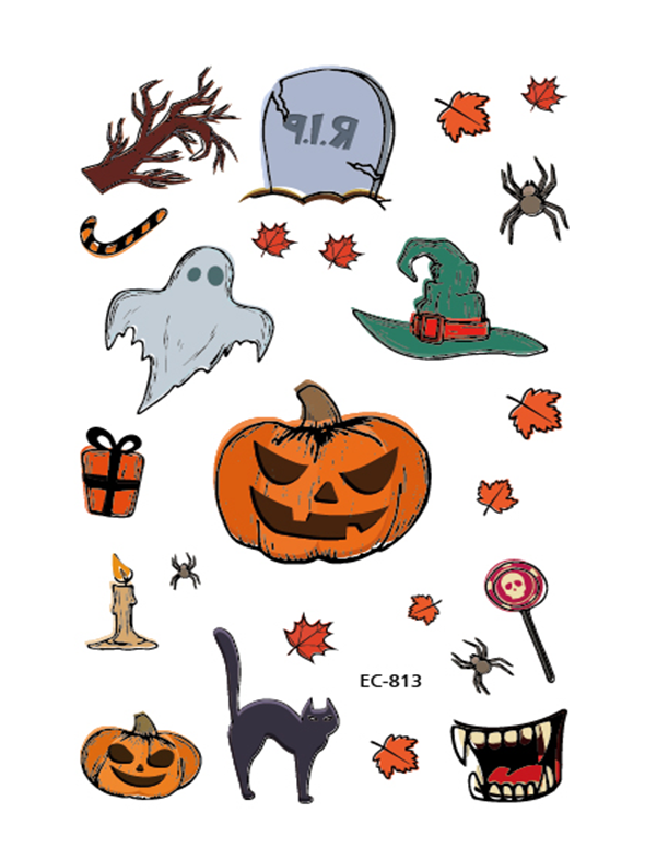 Semink-Tattoo Sticker-Halloween Pumpkin Light Candle Cat And Witch Cat Sticker