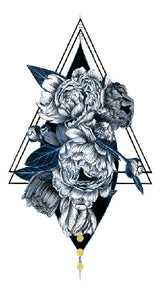 Semink-Tattoo Sticker-Peonies and triangle