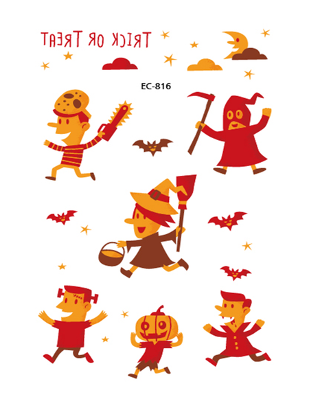 Semink-Tattoo Sticker-Halloween Red And Yellow Pumpkin Lights Trick Or Treat Cute Children Stickers
