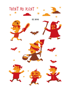 Semink--Halloween Red And Yellow Pumpkin Lights Trick Or Treat Cute Children Stickers-I