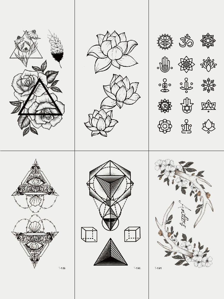 Semink-Tattoo Sticker-Lotus And Other Flowers