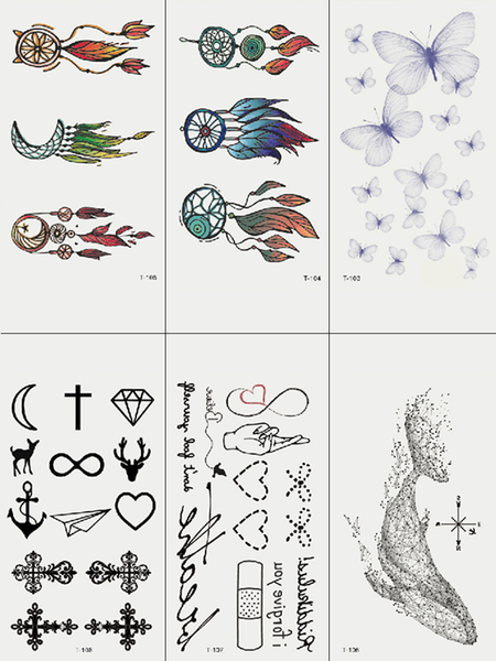 Semink-Tattoo Sticker-Dream Catchers Whale Butterflies