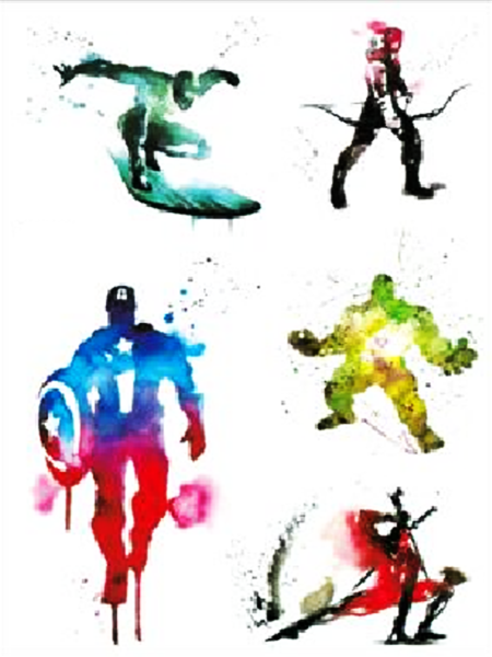 Semink-Tattoo Sticker-Comics-Captain America,The Hulk, Deadpool and Hawkeye