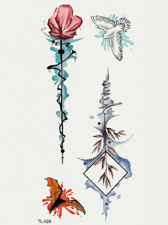 Semink-Tattoo Sticker-Watercolor Flower