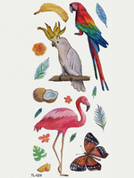 Semink-Tattoo Sticker-Flamingo And Parrots