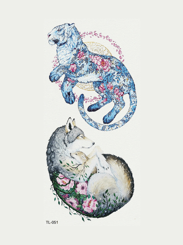 Semink-Tattoo Sticker-Blue Tiger And Wolf