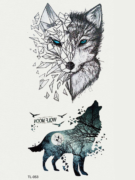 Semink-Tattoo Sticker-Howling Wolf And Staring Wolf