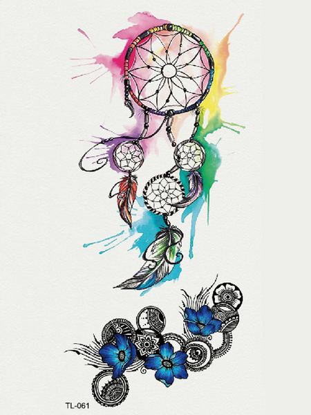 Semink-Tattoo Sticker-Watercolor Dream Catcher