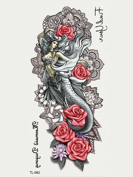 Semink-Tattoo Sticker-Mermaid With Rose