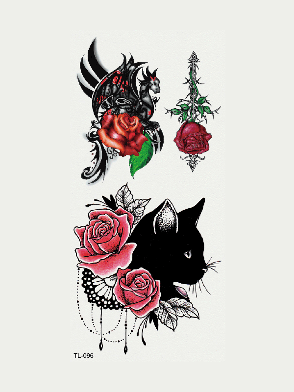 Semink-Tattoo Sticker-Flower And Cat And Dragon