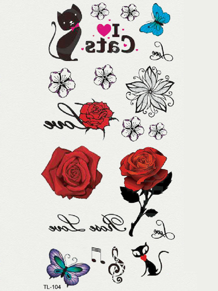 Semink-Tattoo Sticker-Red Rose And Butterflies And Cats