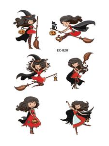 Semink--Halloween Broom Flying Witch Cute Tattoo Sticker-I