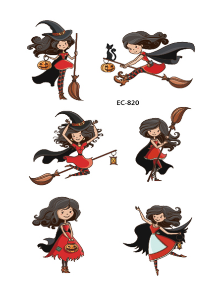 Semink-Tattoo Sticker-Halloween Broom Flying Witch Cute Tattoo Sticker
