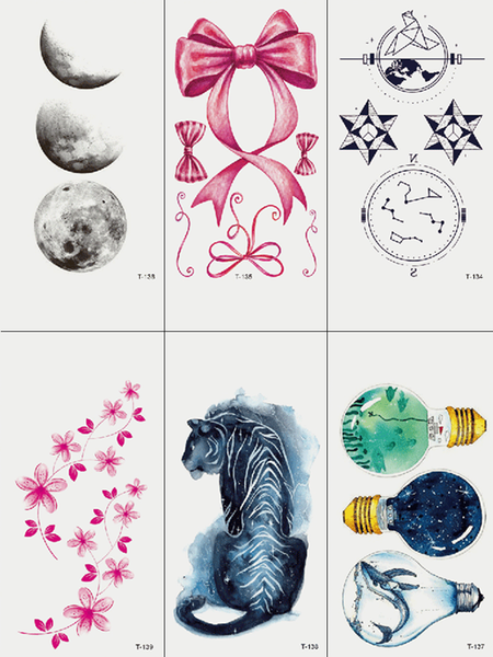 Semink-Tattoo Sticker-Tiger Bird Moon And Bulbs