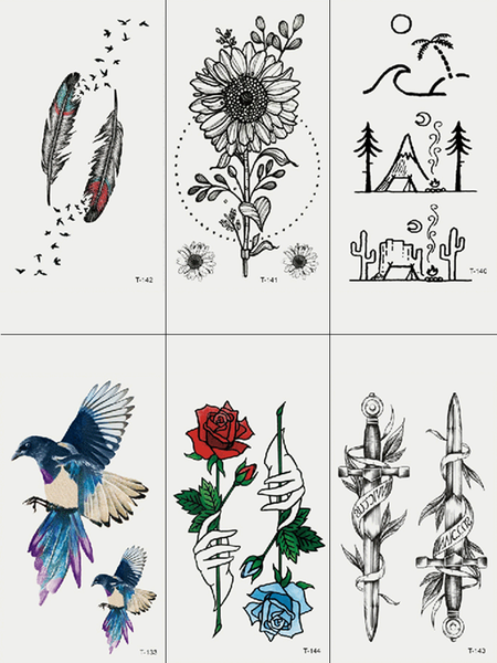 Semink-Tattoo Sticker-Swards And Flowers Feather