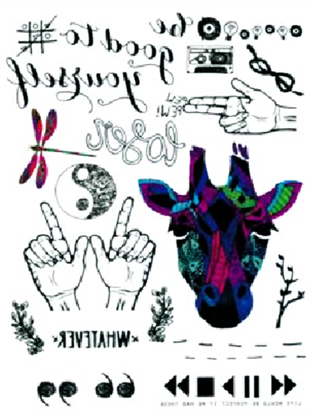 Semink-Tattoo Sticker-Hands, the head of ox and dragonfly