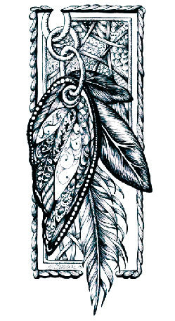 Semink-Tattoo Sticker-The card with plume