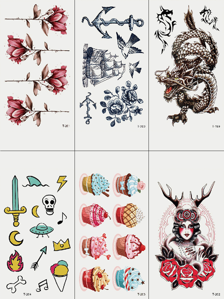 Semink-Tattoo Sticker-Flowers And Dragon And Ice Cream
